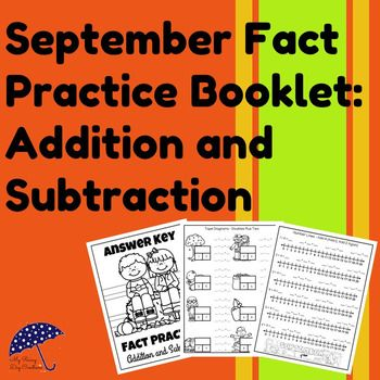 A math fact book for addition and subtraction with cute September decorations. Great for giving kids practice with math facts and math models.  www.MyRainyDayCreations.com