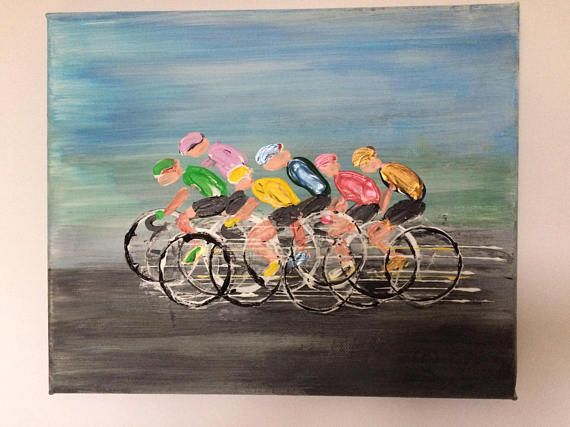Small Original Abstract Cycling Picture Acrylic on Canvas 30cm