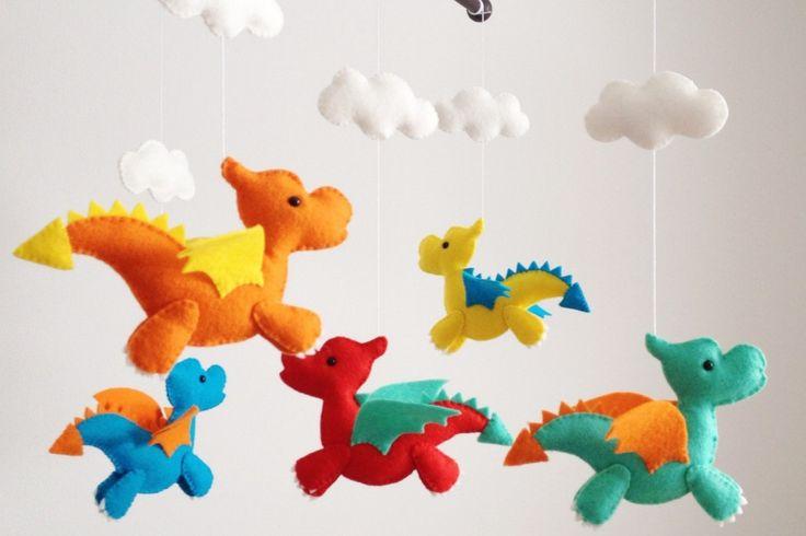 The cutest handmade felt dragon crib mobile on Etsy from Wonderfeltland