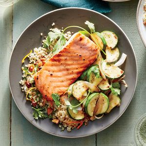 Honey-Dijon Glazed Salmon with Flash-Cooked Zucchini | MyRecipes  This 30-minute meal is perfect for a weeknight meal and impressive enough for guests. Plus, this technique for cooking salmon is so easy, you won't want to do it any other way.