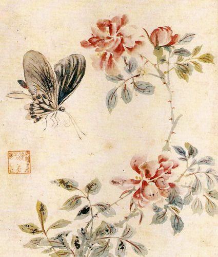 심사정 장미와 나비 Rose and butterfly, Shim Sajung 1707-1769 Josun Dynasty Korea