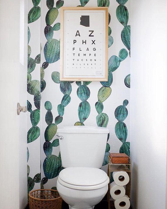 Awesome Cactus Removable Wallpaper Metallic Look Cactus Decal Peel And Stick Removable Wallpaper Wall Mural Floral Nature 41 Removable Wallpaper Bathroom Bathroom Decor Boho Bathroom