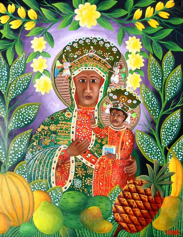 Often choosen to represent Erzulie Dantor--I love this one showing the fruits of the tropics for the madonna's fruitfulness