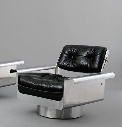 Pierre Folie; Stainless Steel and Leather 'Douglas Chair', 1968.