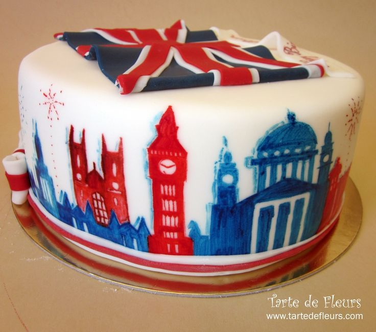 London themed cake | by Tarte de Fleurs ~ the fondant flag here is a little off (cross stripes should be offset!) but I ♥ ♥ ♥ the red & blue watercolor-style skyline painting all around the sides!