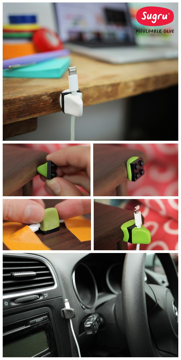 Organise your cables with Lego and Sugru.