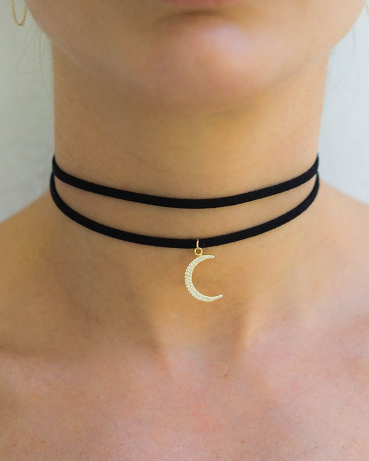 Women's Accessories - The Crescent Moon Black Choker Necklace from Miami  Beach jewelry company Meridian Ave fashion jewelry is chic and sexy.