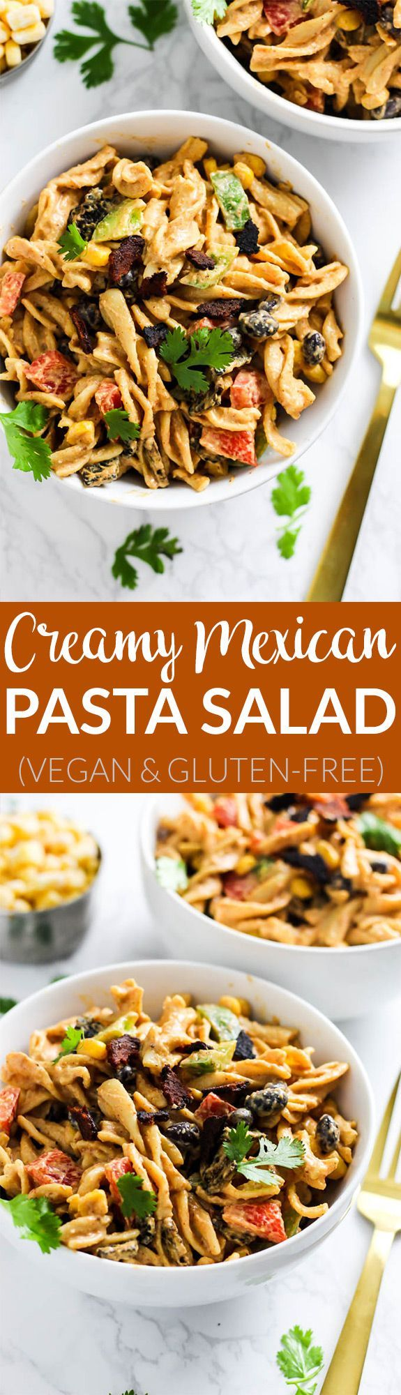 This Creamy Vegan Mexican Pasta Salad is packed with spicy flavor, vegetables and healthy fats to satisfy you at meal time. Only 30 minutes of prep time! @sweetearthfoods #ad #sweetearth