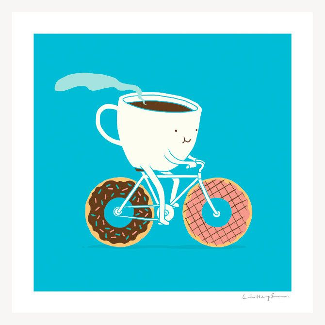 Coffee and Donuts  print by ilovedoodle on Etsy, $30.00