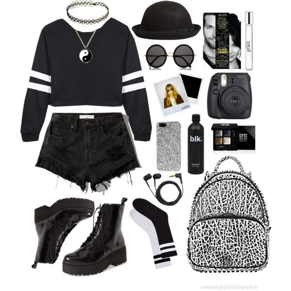 street style: suit the black with the white by srsstreetcouture on Polyvore featuring polyvore, fashion, style, Abercrombie & Fitch, Jeffrey Campbell, Alexander Wang, INDIE HAIR, Boohoo, Yves Saint Laurent, The Row, Givenchy, philosophy, Sennheiser and Polaroid