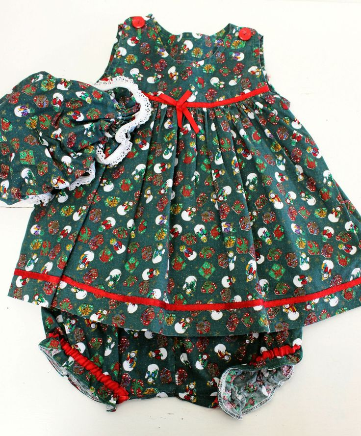Infants Xmas Dress Bonnet Pichers Set Green Red Print Sz 0 1 Cotton Handmade Vintage by KittysVintageKitsch on Etsy