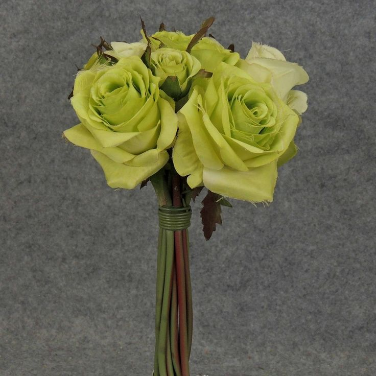 1 Pc, 12 Inch Pre-Made Rose Nosegay Bouquet Perfect For Weddings, Bridal Showers/Arrangements - Green