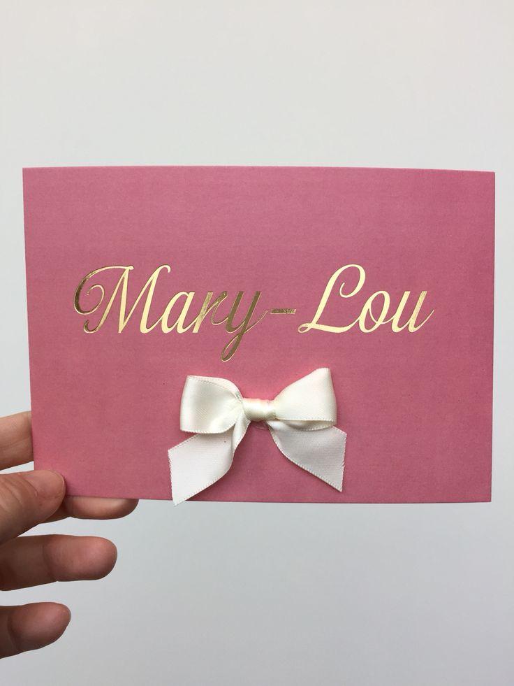 geboortekaartje Mary-Lou foliedruk en strikje