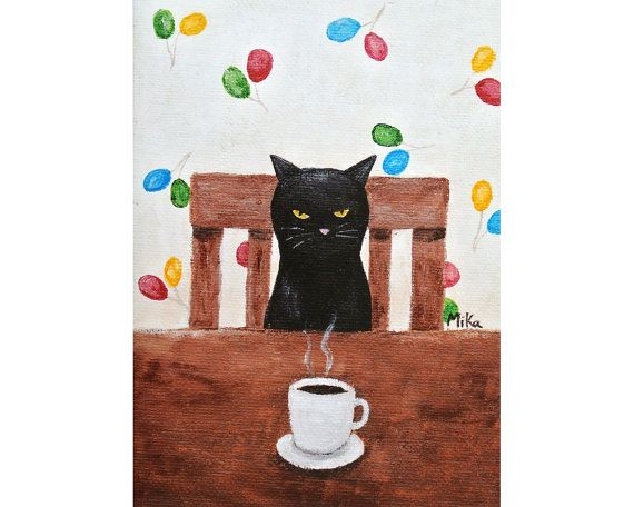 Black Cat illustratie Print grappige Black Cat Print koffie kunst eigenzinnige Home Decor keuken kunst aan de muur illustratie knorrige Black Cat Humor MiKa