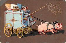 AK Neujahr Junge mit Kutsche Glücksschweine Geldsäcke Pakete 1907