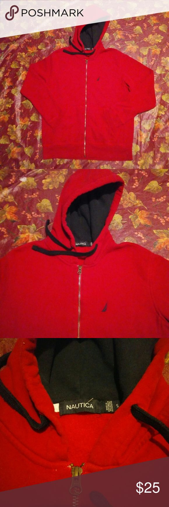 Nautica Small Red Zip Up Hoodie! This jacket is in great condition. Made by Nautica, a brand known for quality shirts and clothing. It is red and a size Small. Nautica Sweaters Zip Up