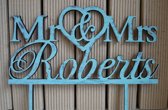 Rustic Wedding  wood cake topper  Turquoise cake by WoodYourDay