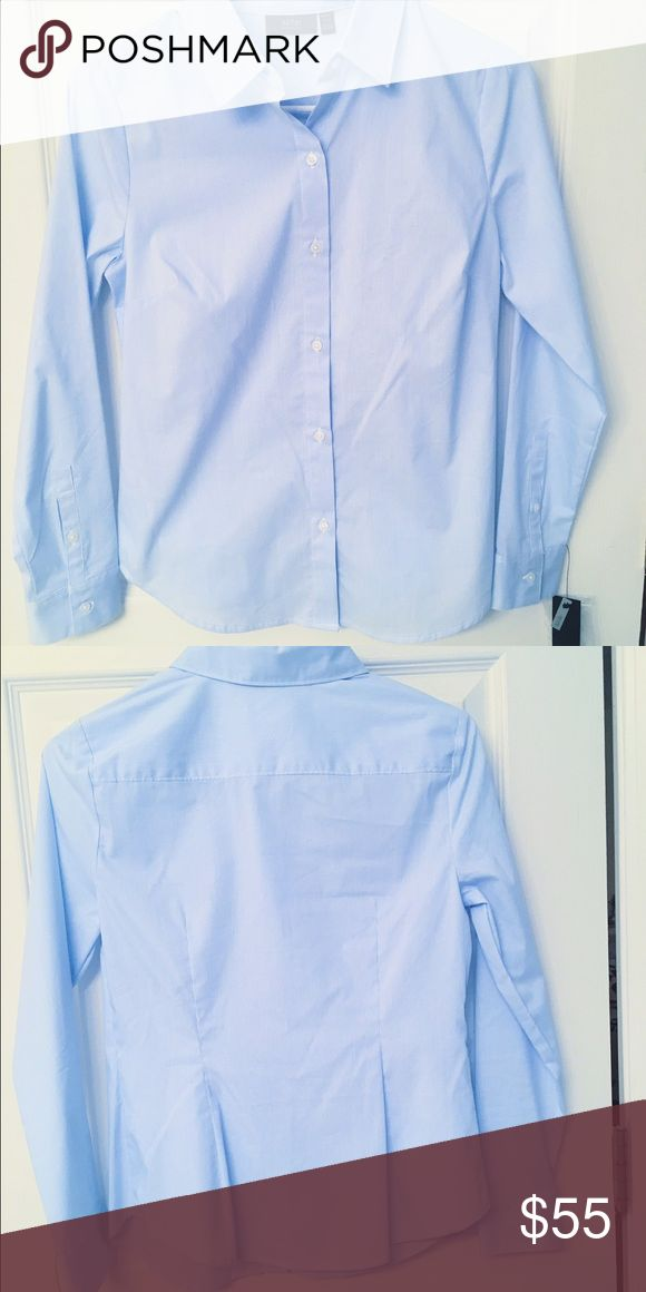 Blue button-up shirt Perfect condition! Never been worn. It is a slightly deeper blue than my camera captured and has a faint, vertical, lined texture. From the petite section, but fits a regular small or extra small just fine. Looks great for both casual or business when paired with some slacks or a nice skirt! Apartment 9 Tops Button Down Shirts