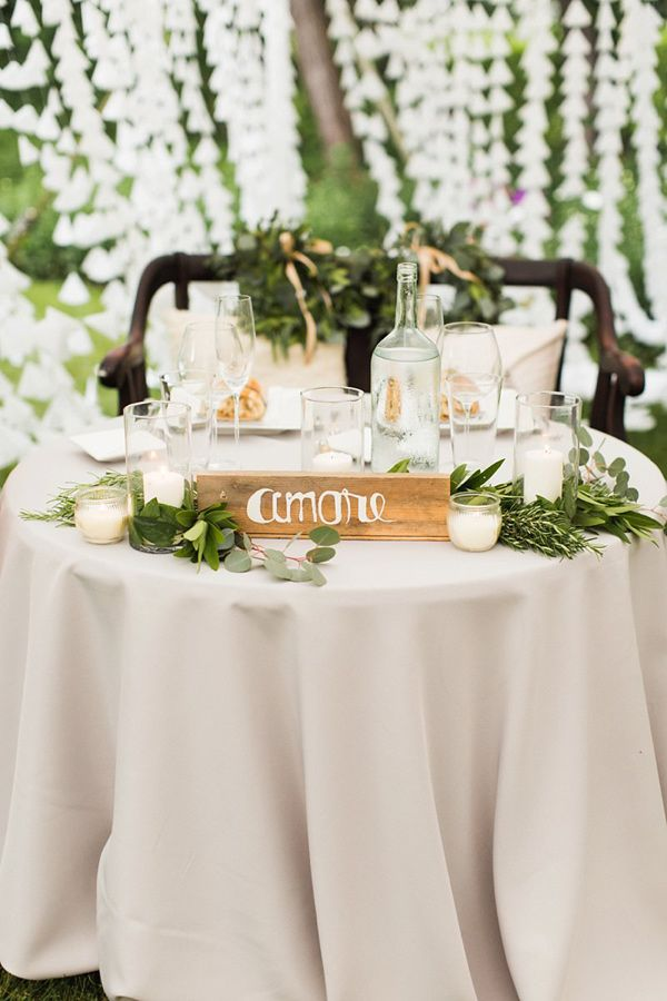 sweetheart table - photo by Julia Elizabeth Photography http://ruffledblog.com/italian-inspired-backyard-wedding