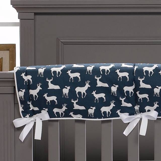 product image for Liz And Roo Navy Woodland Crib Rail Guard in Navy