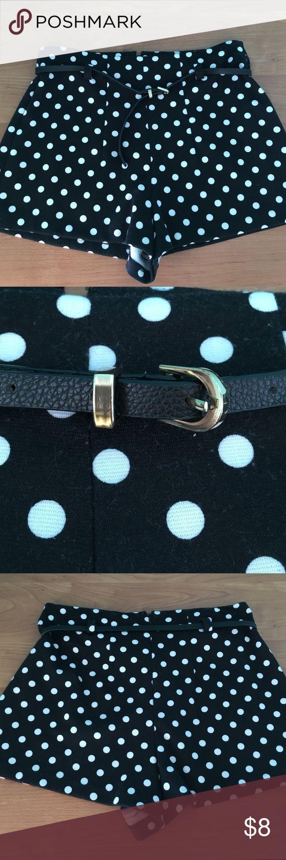 Polka dot shorts Belted polka dot high waisted shorts with zipper Forever 21 Shorts