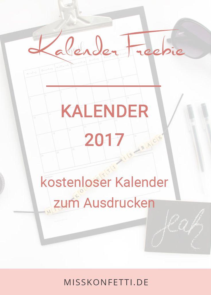 Kalender 2017 zum Ausdrucken - für ein mega produktives Jahr