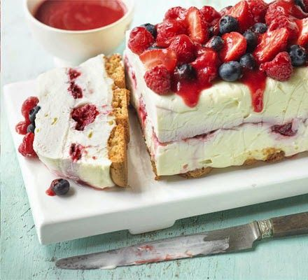 White chocolate berry cheesecake -- A stunning no-cook pudding bursting with summer flavours - great for relaxed entertaining.
