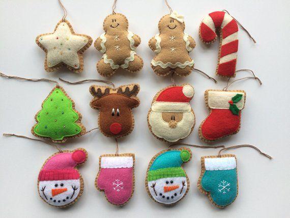 Felt Ginger Christmas Ornaments Christmas Decorations Tree Etsy Felt Christmas Ornaments Christmas Ornaments Felt Ornaments