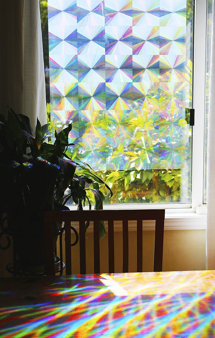 Decorative Window Film Holographic Film 24 X 36 Panel Radial Axicon Pattern Decorative Window Film Window Film Window Decor