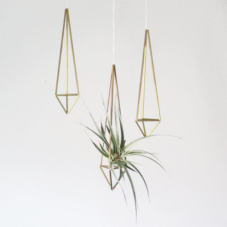 Brass Himmeli Air Plant Hanger Hanging Mobile Prism