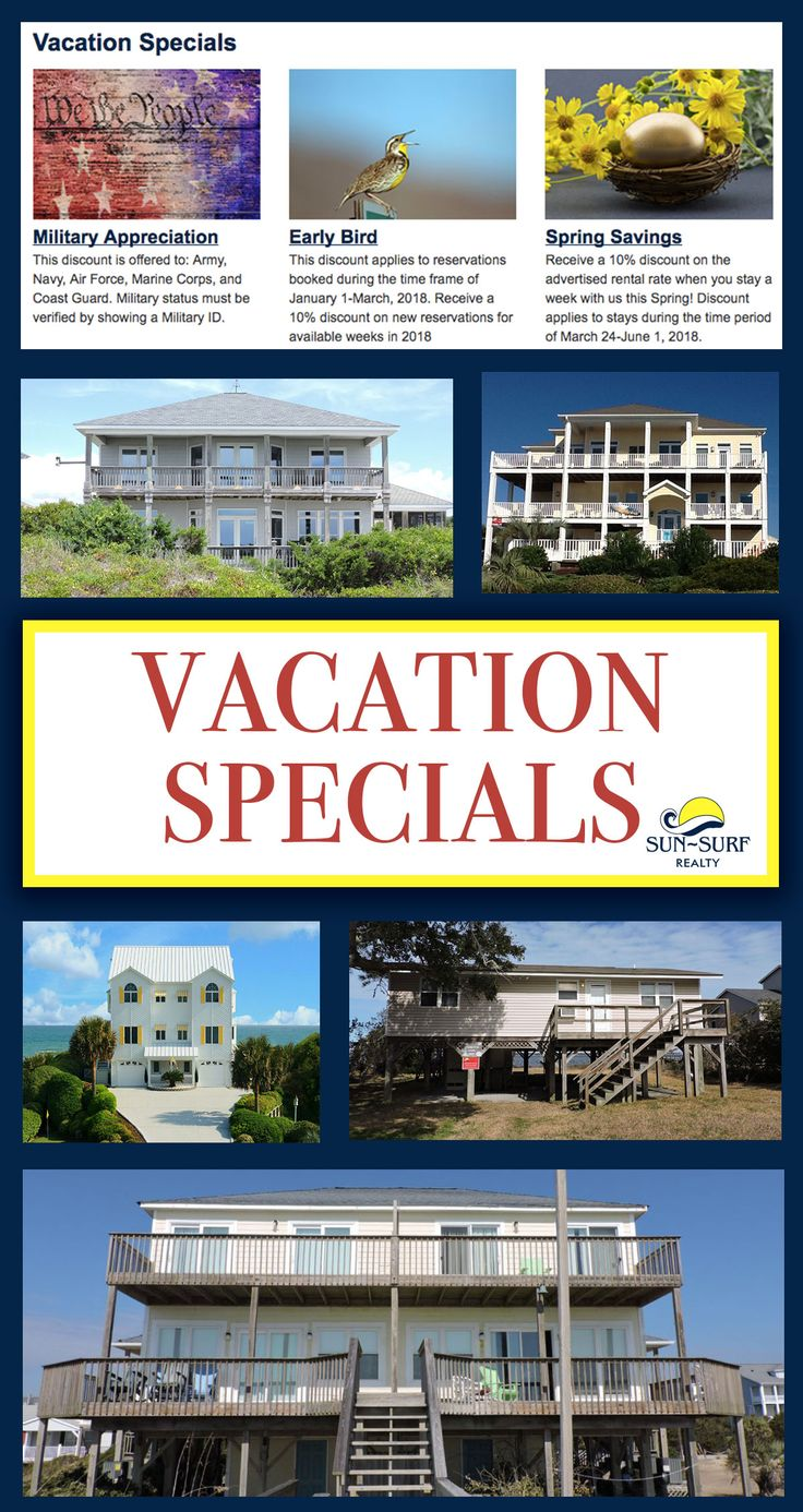 Say YES to Emerald Isle VACATION RENTAL SPECIALS!! Check out what specials we are offering, and book now!