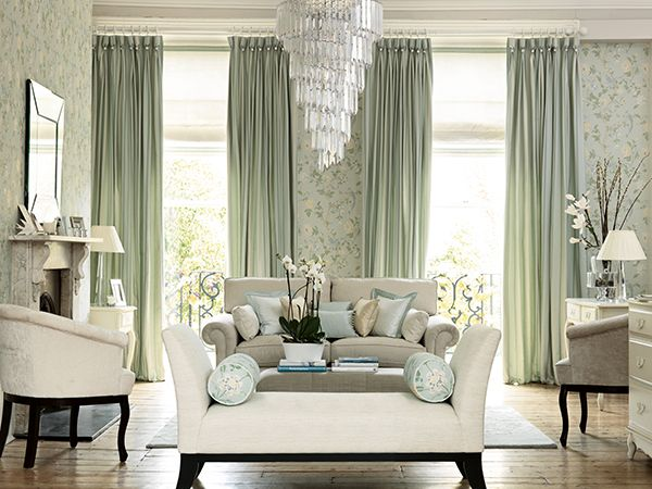 Summer palace eau de nil from the laura ashley wallpaper for Bright wallpaper for living room