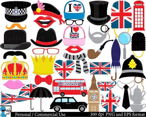 London Props set 1 Digital Clipart Clip Art Graphics by HaHaHaArt