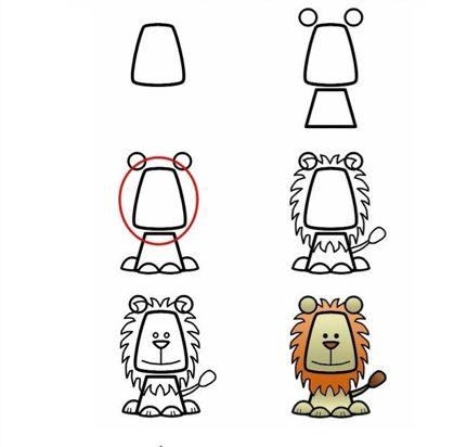 Instrução para desenho infantil - Leão!