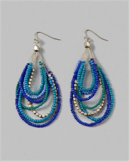 Blue beads earrings - Aretes de cuentas azules