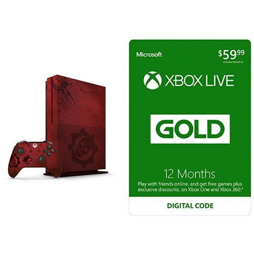 Xbox One S 2TB Console – Gears of War 4 Limited Edition + Xbox Live 12 Month Gold Membership Bundle #deals