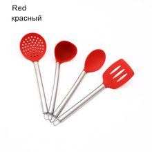 2016 New Kitchen Tools Rainbow Series Cookware 4 PCS /Set Stainless Steel Handle Silicone Colander+Spatula +Soup spoon+ Spoon
