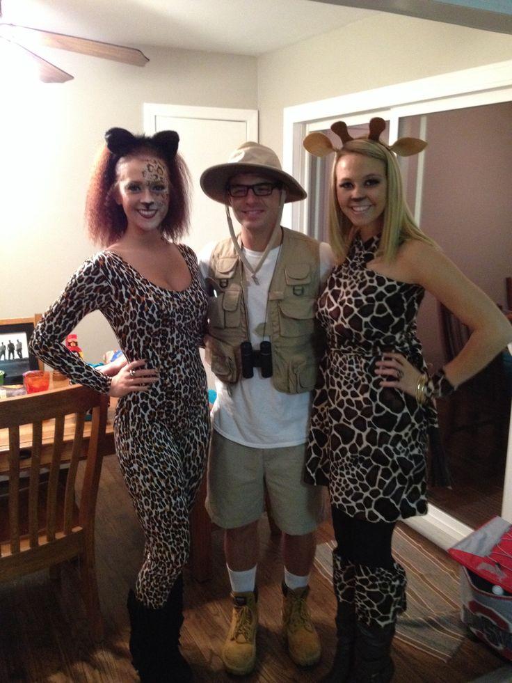 Couples costume! Giraffe chattah and safari researcher!  Giraffe costume DIY and African Researcher and cheetah #Halloween #giraffe #DIY