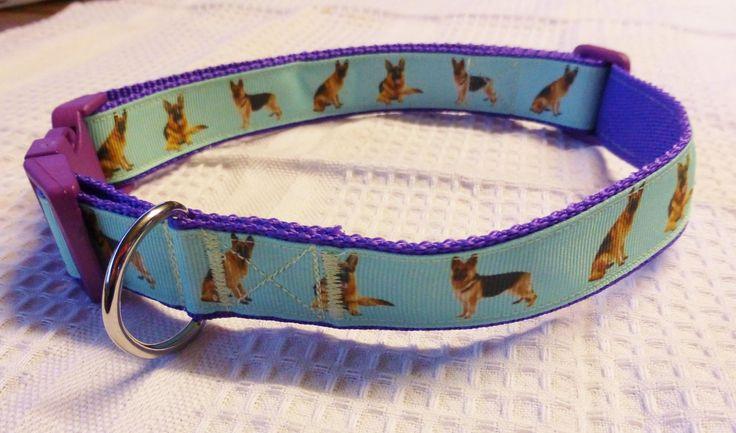 German shepherd custom print ribbon collar on purple webbing $20
