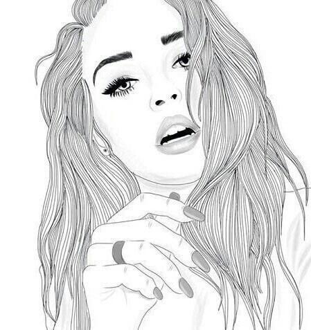 noir et blanc, dessiné, dessin, mode, fille, lèvres, ongles, Tumblr
