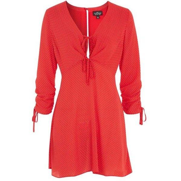 Topshop Petite Red Spot Mini Tea Dress ($58) ❤ liked on Polyvore featuring dresses, short mini dress, mini dress, short red dress, red sleeve dress and polka dot dress