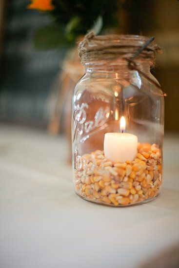 Corn and Candles: Photo by Pam Cooley Photography via The Wedding Chicks