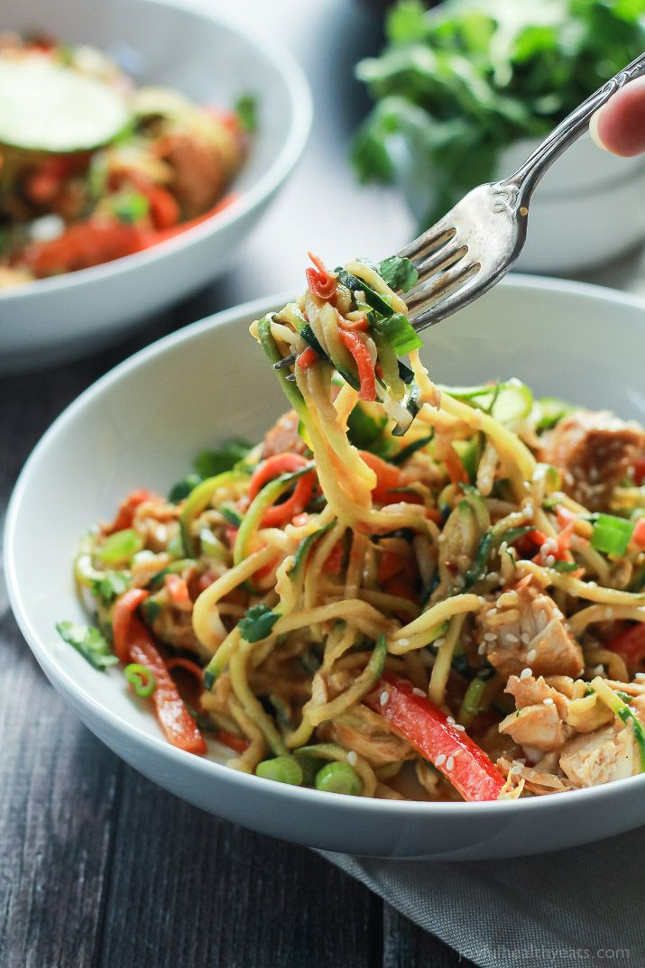 Zoodles are the star in this easy 15 minute Thai Chicken Zucchini Noodles recipe with Spicy Peanut Sauce only 363 calories and packed with a punch of flavor!