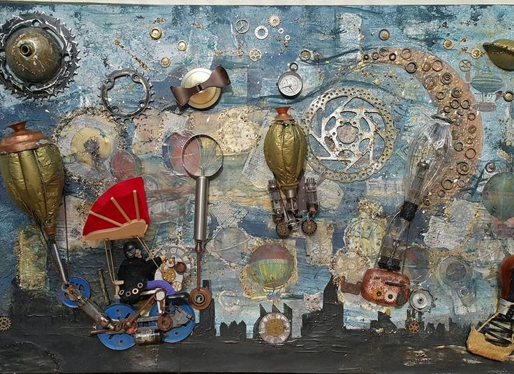 Up Up and Away by Thérèse Quinlivan  - Steampunk Artwork a mixed media creation
