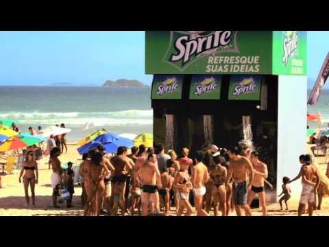 The Sprite Shower on the beach in Rio