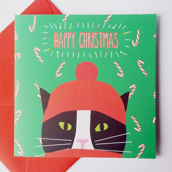 Black and White Cat Christmas Card  Black and White by JayneyMac