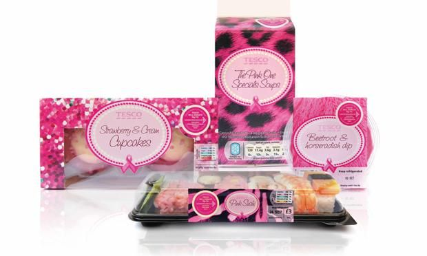 Tesco products given pink look for Cancer Research