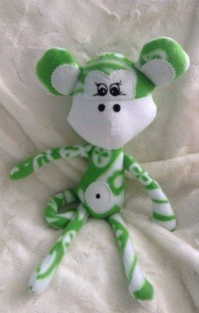 Green and White Fleece Melon Head Monkey - pinned by pin4etsy.com