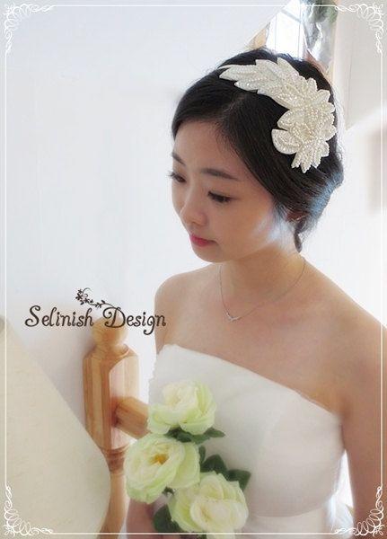 Ivory Bridal Headband Ivory Wedding Headband by SelinishDesign, $33.00