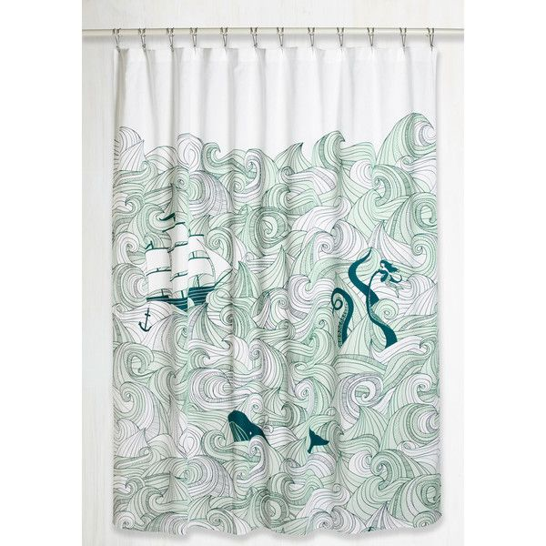 Quirky Swell Acquainted Shower Curtain ($65) ❤ liked on Polyvore featuring home, bed & bath, bath, shower curtains, anchor shower curtains, white shower curtains, ocean shower curtains, navy shower curtains and cotton shower curtains